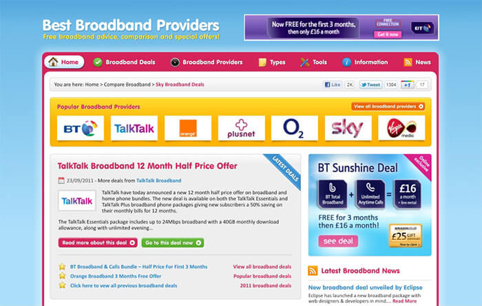New Best Broadband Provider Comparison Website Launched
