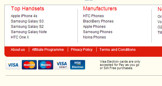 Phones4u Website Use Our Credit Card Icon Collection