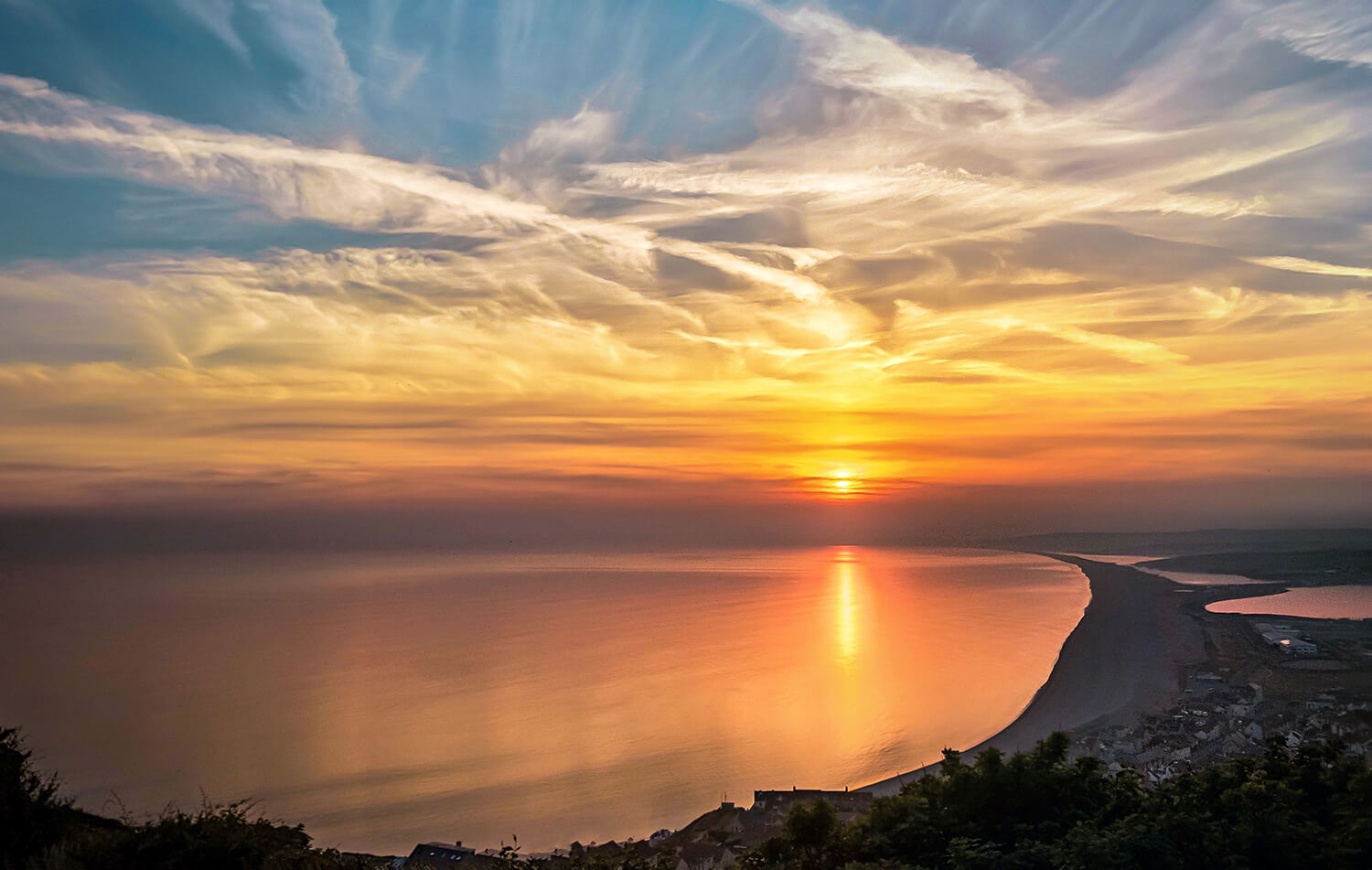 Photo Of Sunset And Clouds Over Chesil Beach From Portland